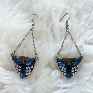 BaubleBar Art Deco Blue Stone Chandelier Earrings